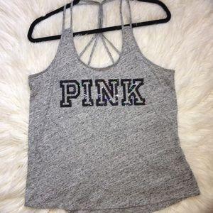 Pink Victoria's Secret sequin tank top NWOT